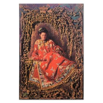 "George Tsui, ""Maiden in Red"" Limited Edition on Canvas, Numbered and Hand Signed with Letter of Authenticity. $1,200"