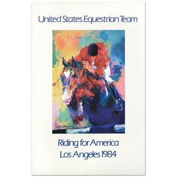 "Leroy Neiman (1921-2012) - ""United States Equestrian Team/Riding for America/Los Angeles 1984"" Fine Art Poster!"