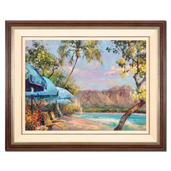 "Steve Quartly, ""Waikiki Dreams"" Framed Hand Embellished Ltd Ed on Canvas, Numbered 58/200 and Hand Signed with Cert. $1,200"