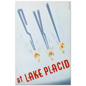 """""""Ski at Lake Placid"""" Hand Pulled Lithograph by the RE Society, Image Originally by Maurier with Cert! List $300"""