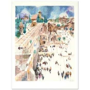 """Shmuel Katz (1926-2010)!  """"Jerusalem-The Wall"""" Limited Edition Serigraph, Numbered and Hand Signed with Certificate!"""