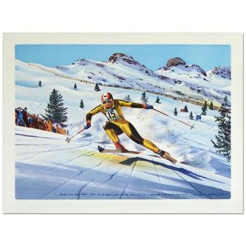 """William Nelson - """"Franz Klammer (1976)"""" Limited Edition Lithograph, Numbered and Hand Signed by the Artist! List $500"""