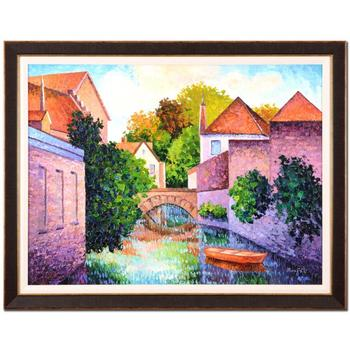 """Alexander Antanenka-""""Still Waters by the Village"""" Framed Original Oil Painting on Canvas, Hand Signed with Certificate. $11,600"""