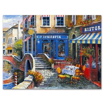 """Anatoly Metlan - """"Outdoor Cafe"""" Limited Edition Lithograph, Numbered and Hand Signed with Certificate. $220"""