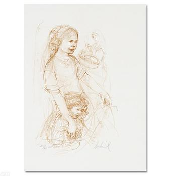 """Edna Hibel (1917-2014)! """"Small Breton Woman with Child"""" Ltd Ed Lithograph, Numbered & Hand Signed with Certificate! List $460"""