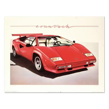 """Wolfgang Kuzel, """"Lamborghini"""" Limited Edition Lithograph from a PP Edition, Hand Signed with Letter of Authenticity. $750"""