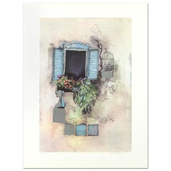 """Rosina Wachtmeister, """"Venetian Window"""" Ltd Ed Lithograph with Silver Leaf, No. and Hand Signed with LOA. $995"""