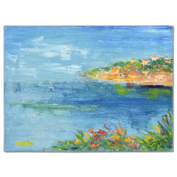 """Elliot Fallas, """"Village Seascape"""" Original Oil Painting on Canvas, Hand Signed with Certificate of Authenticity. List $1,450"""