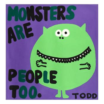 """Todd Goldman - """"Monsters are People Too"""" Original Acrylic Painting on Canvas, Hand Signed with Certificate. $4,000"""
