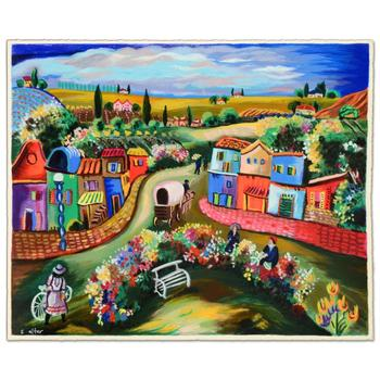 """Shlomo Alter - """"Busy Day in the Country"""" Limited Edition Serigraph, Numbered and Hand Signed with Certificate. $450"""
