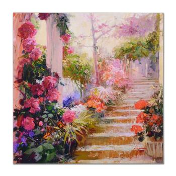 "Pino(1939-2010)! ""Rose Garden Steps"" Limited Edition Artist-Embellished Canvas, Hand Signed! $5,500"