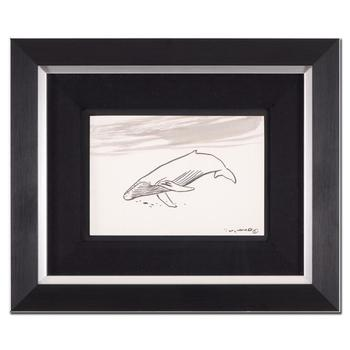 "Wyland - ""Humpback Whale"" Framed Original Sketch, Hand Signed with Certificate of Authenticity. List $1,500"
