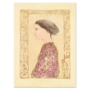 """Edna Hibel (1917-2014), """"China Profile"""" Ltd Ed Lithograph on Rice Paper, Numbered 2/6 and Hand Signed with Certificate. $550"""
