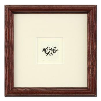 """Pepe Le Pew & Penelope Pussycat"" Framed Limited Edition Etching with Hand-Tinted Color and Numbered."