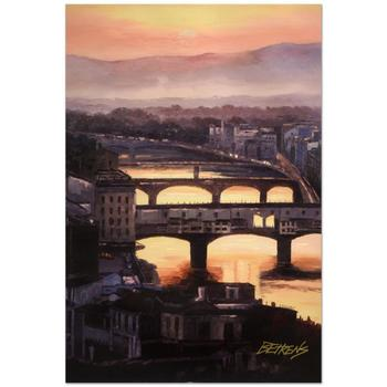 "Behrens (d.2014)! ""Sunset at the Ponte Vecchio"" Ltd Ed Embellished Giclee on Canvas No. and Signed w/Cert! List $995"