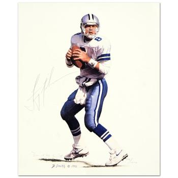 "Daniel M. Smith! ""Troy Aikman"" Ltd Ed Lithograph, Numbered and Hand Signed by Both the Artist & Troy Aikman, with Cert! $350"