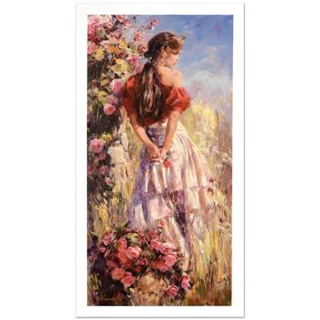 "Garmash! ""Cherished Roses"" Ltd Ed Hand Embellished Giclee on Canvas (24"" x 48""), No. & Hand Signed w/Cert! List $1,225"