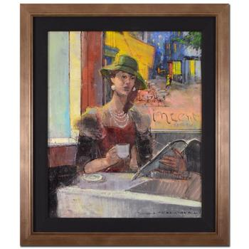 "Alex Zwarenstein, ""Vincents Cafe"" Framed Original Oil Painting on Canvas, Hand Signed with Certificate. $20,250"