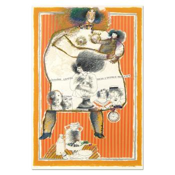 """Theo Tobiasse (1927-2012), """"Histoire Gravee"""" Ltd Ed Lithograph, Numbered and Hand Signed with Letter of Authenticity. $3,950"""