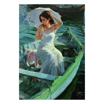 """Vladimir Volegov, """"Lakeside Reflection"""" Ltd Ed Hand Embellished on Canvas, Numbered and Hand Signed with Certificate. $1,250"""