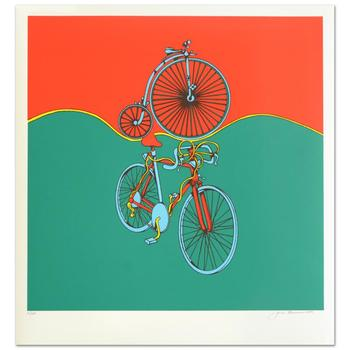 """Jack Brusca (1937-1993)! """"Bicycle"""" Ltd Ed Serigraph, Numbered and Hand Signed with Certificate! $995"""