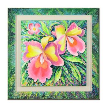"""Alexander Antanenka, """"Orchid Beauty"""" Framed Original Oil Painting on n (41"""" x 41""""), Hand Signed with Certificate. $10,150"""