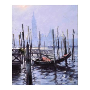 """Vakhtang - """"Gondola at Evening Time"""" Limited Edition Hand Embellished Giclee on Canvas, Numbered and Hand Signed. $1,000"""