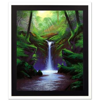 """Jon Rattenbury! """"Woodland Cascade"""" Ltd Ed Giclee on Canvas, Numbered and Hand Signed with Certificate! List $795"""