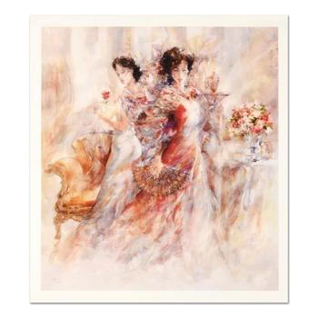 """Gary Benfield, """"La Promenade II"""" Ltd Ed Seriolithograph with Gold Leaf, Numbered and Hand Signed with LOA. $1,950"""