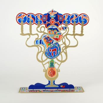 """Raphael Abecassis, """"Menorah"""" Ltd Ed Metal Sculpture, Numbered and Hand Signed with Certificate. $450"""