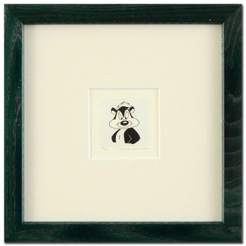 """Warner Bros.! """"Pepe Le Pew"""" Framed Ltd Ed Hand-Tinted Etching (Dated 1999)!"""