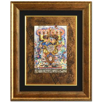 "Raphael Abecassis! ""Menorah"" Framed Ltd Ed 3-Layer Decoupage, Numbered 183/295 and Hand Signed with Cert! $2,050"