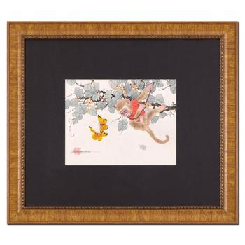 "Caroline Young, ""Playtime"" Framed Original Gouache Painting on Mother of Pearl Paper, Hand Signed& COA"