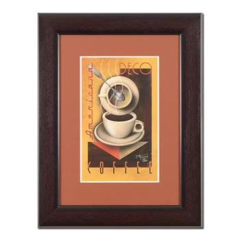 """Mike Kungl, """"Deco Coffee"""" Framed Limited Edition Giclee, Numbered and Hand Signed with Certificate of Authenticity. $495"""