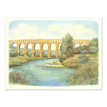 """Rolf Rafflewski - """"Pont du Gard Aqueduct"""" - Limited Edition Lithograph, Numbered and Hand Signed!"""