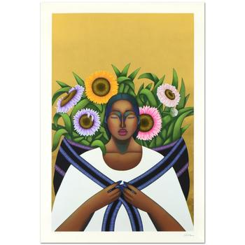 """Nivia Gonzales (1946-2017), """"Echoes Of Unrestrained Beauty"""" Ltd Ed Serigraph w/GoldLeaf, No. & Hand Signed w/Cert. $800"""