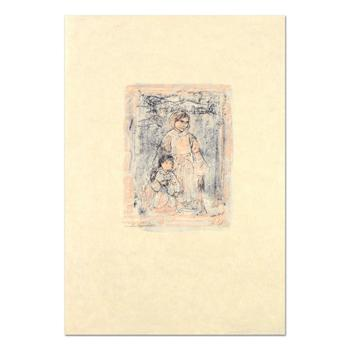 """Edna Hibel (1917-2014), """"Michelle and Nana"""" Ltd Ed Lithograph on Rice Paper, Numbered and Hand Signed with Certificate. $645"""