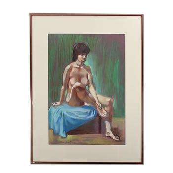 "Adam Grant (1924-1992), ""Nude #2"" Framed Original Pastel Painting on Paper, Hand Signed with Certificate of Authenticity. $2,500"
