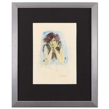 "Judith Bledsoe (1928-2013), ""Thinking"" Framed Original Watercolor Painting, Hand Signed with Letter of Authenticity. List $4,500"