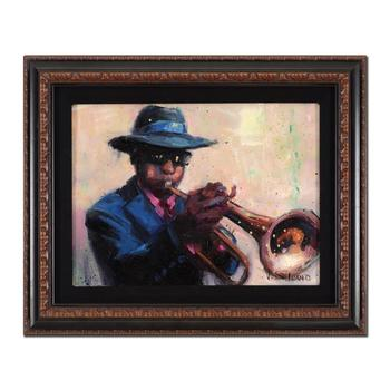 "Vincent Silvano, ""Jazz Man"" Framed Original Oil Painting on Canvas, Hand Signed with Certificate of Authenticity. List $2,000"