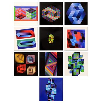 "Victor Vasarely (1908-1997), ""Hommage Al'hexagone Portfolio""Includes 10 Heliogravure Prints, Titled Inverso."
