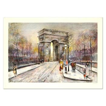 """Antonio Rivera, """"Arc de Triomphe"""" Limited Edition Lithograph, Numbered and Hand Signed."""