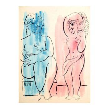 "Wayne Ensrud ""Artist and Muse 1"" Mixed Media Original Artwork; Hand Signed; COA"