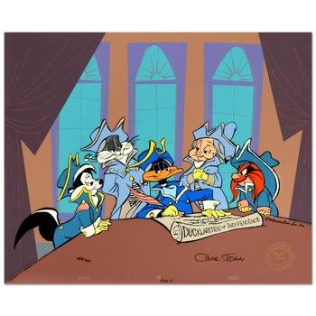 """Chuck Jones (d. 2002), """"Ducklaration..."""" Ltd Ed Animation Cel w/Hand Painted Color, No. and Hand Signed w/Cert."""