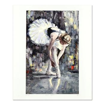 """Elena Bond, """"White Slippers"""" Hand Embellished Limited Edition Mixed Media, Numbered and Hand Signed with LOA."""