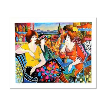 """Patricia Govezensky """"Girl Talk"""" Limited Edition Serigraph, Numbered and Hand Signed with Certificate."""