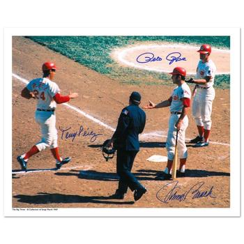 """""""Tony Crossing the Plate"""" Archival Photograph of Tony Perez crossing the plate and being congratulated by teammates."""