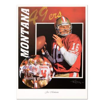 """Tim Cortes, """"Glory Days"""" Collectible Poster Featuring Hall of Famer Joe Montana of the San Francisco 49'ers."""