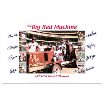 """""""Big Red Machine Tractor"""" Lithograph Featuring Signatures from the Big Red Machine's Starting Eight."""