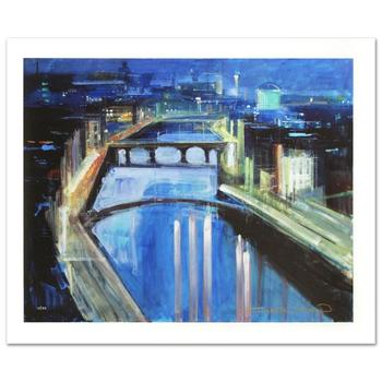 """Alex Zwarenstein, """"Dublin by Night"""" Limited Edition Giclee on Canvas, Numbered and Hand Signed w/Cert."""